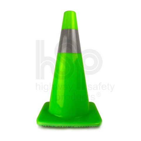 "18"" Traffic Cone with 4 inch Reflective Collar, Fluorescent Green 3 lb"