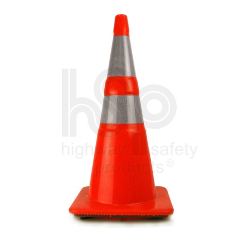 "28"" Traffic Cone with Recessed Reflective Collar, Orange, 10 lb"