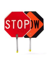 "Stop - Slow Paddle Sign with 24"" Aluminum Sign"